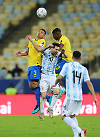 10th July 2021, Estádio do Maracanã, Rio de Janeiro, Brazil. Copa America tournament final, Argentina versus Brazil;  Lionel Messi of Argentina closed out by Thiago Silva and Emerson of Brazil