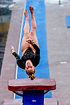 February 19, 2021: Towson University's Jenna Weitz competes in the vault during the 2nd Annual George McGinty Alumni Meet at the SECU Arena at Towson University in Towson, Maryland. Scott Serio/Eclipse Sportswire/CSM