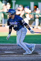 Eudy Ramos (28) of the Missoula Osprey at bat against the Ogden Raptors in Pioneer League action at Lindquist Field on July 13, 2016 in Ogden, Utah. Ogden defeated Missoula 8-2. (Stephen Smith/Four Seam Images)