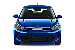 Car photography straight front view of a 2021 KIA Rio S 5 Door Hatchback Front View