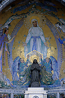 Mosaic representing the Virgin Mary in Rosary Square, near the Rosary Basilica, Lourdes, France.