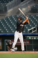 Jupiter Hammerheads Connor Scott (25) at bat during a Florida State League game against the Lakeland Flying Tigers on August 12, 2019 at Roger Dean Chevrolet Stadium in Jupiter, Florida.  Jupiter defeated Lakeland 9-3.  (Mike Janes/Four Seam Images)