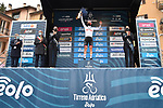 Tadej Pogacar (SLO) UAE Team Emirates takes over the young riders Maglia Bianca at the end of Stage 3 of Tirreno-Adriatico Eolo 2021, running 219km from Monticiano to Gualdo Tadino, Italy. 12th March 2021. <br /> Photo: LaPresse/Gian Mattia D'Alberto   Cyclefile<br /> <br /> All photos usage must carry mandatory copyright credit (© Cyclefile   LaPresse/Gian Mattia D'Alberto)