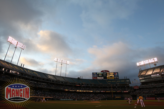 OAKLAND, CA - AUGUST 20:  General overall interior scenic view with clouds during the game between the Toronto Blue Jays and Oakland Athletics during the game at O.co Coliseum on August 20, 2011 in Oakland, California. Photo by Brad Mangin