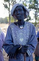 Sudan. South Sudan. Bahr El Ghazal. Mayen Abun. Dinka slaved woman bought back by Christian Solidarity International (CSI) from muslim arab traders. © 1999 Didier RuefF