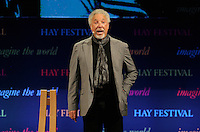 Hay on Wye. Sunday 05 June 2016<br /> Singer Tm Jones speaking about his book 'Over The Top And Back The Autobiography' at the Hay Festival, Hay on Wye, Wales, UK