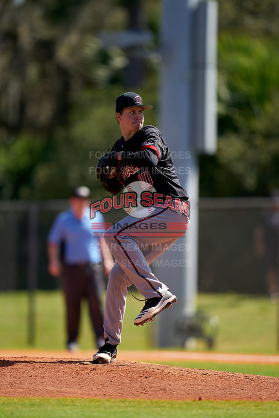 Omaha Mavericks pitcher Henry Ristvedt (30) during a game against the Dartmouth Big Green on February 23, 2020 at North Charlotte Regional Park in Port Charlotte, Florida.  Dartmouth defeated Omaha 8-1.  (Mike Janes/Four Seam Images)