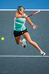 Yaroslava Shvedova of Kazakhstan in action against Alize Cornet of France during the WTA Prudential Hong Kong Tennis Open at the Victoria Pack Stadium on 15 October 2015 in Hong Kong, China. Photo by Aitor Alcalde / Power Sport Images