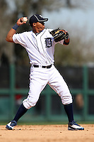 March 5, 2010:  Shortstop Gustavo Nunez of the Detroit Tigers during a Spring Training game at Joker Marchant Stadium in Lakeland, FL.  Photo By Mike Janes/Four Seam Images