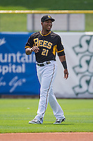 Alfredo Marte (21) of the Salt Lake Bees before the game against the Omaha Storm Chasers in Pacific Coast League action at Smith's Ballpark on August 16, 2015 in Salt Lake City, Utah. Omaha defeated Salt Lake 11-4. (Stephen Smith/Four Seam Images)