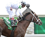Carpe Diem (no. 5), ridden by John Velazquez and trained by Todd Pletcher, wins the 101st running of the grade 1 Claiborne Breeders' Futurity Stakes for two year olds on October 04, 2014 at Keeneland in Lexington, Kentucky.  (Bob Mayberger/Eclipse Sportswire)