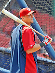 9 June 2012: Washington Nationals outfielder Rick Ankiel awaits his turn in the batting cage prior to a game against the Boston Red Sox at Fenway Park in Boston, MA. The Nationals defeated the Red Sox 4-2 in the second game of their 3-game series. Mandatory Credit: Ed Wolfstein Photo
