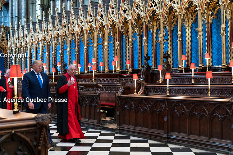 President Trump and First Lady Melania Trump's Trip to the United Kingdom<br /> <br /> President Donald J. Trump joined by the Dean of Westminster Abbey The Very Reverend Dr. John Hall tours Westminster Abbey Monday, June 3, 2019 in London. (Official White House Photo by Shealah Craighead)