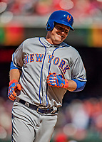 5 April 2018: New York Mets outfielder Jay Bruce rounds the bases after hitting a grand slam in the 7th inning against the Washington Nationals during the Nationals' Home Opener at Nationals Park in Washington, DC. The Mets defeated the Nationals 8-2 in the first game of their 3-game series. Mandatory Credit: Ed Wolfstein Photo *** RAW (NEF) Image File Available ***
