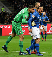 Gianluigi Donnarumma and Alessandro Florenzi of Italy during the Nations League League A group 3 football match between Italy and Portugal at stadio Giuseppe Meazza, Milano, November, 17, 2018 <br />  Foto Andrea Staccioli / Insidefoto