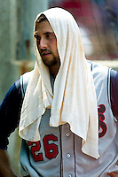 Tennessee Smokies third baseman Jamie D'Antona cools off with an ice towel on a very hot Sunday afternoon at Five County Stadium in Zebulon, NC, Sunday, July 2, 2006.  The Mudcats defeated the Smokies 4-0.