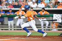Tennessee Smokies Roberto Caro (25) swings at a pitch during a game against the Biloxi Shuckers on August 10, 2019 in Kodak, Tennessee. The Shuckers defeated the Smokies 7-3. (Tony Farlow/Four Seam Images)
