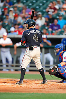 Mississippi Braves catcher Shea Langeliers (4) at bat against the Tennessee Smokies at Smokies Stadium on July 16, 2021, in Kodak, Tennessee. (Danny Parker/Four Seam Images)
