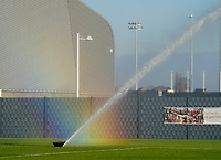 20200911 - TUBIZE , Belgium : Sprinkler and the resulting rainbow pictured during the training session of the Belgian Women's National Team, Red Flames ahead of the Women's Euro Qualifier match against Switzerland, on the 28th of November 2020 at Proximus Basecamp. PHOTO: SEVIL OKTEM | SPORTPIX.BE