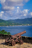 cannon at Fort Shirley, Dominica, West Indies (Eastern Caribbean), Atlantic