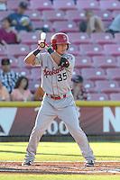 Jose Cardona #35 of the Spokane Indians bats against the Salem-Keizer Volcanoes at Volcanoes Stadium on July 26, 2014 in Keizer, Oregon. Spokane defeated Salem Keizer, 4-1. (Larry Goren/Four Seam Images)