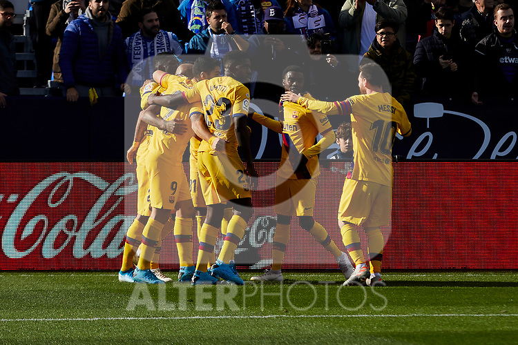 Players of FC Barcelona celebrate goal during La Liga match between CD Leganes and FC Barcelona at Butarque Stadium in Leganes, Spain. November 23, 2019. (ALTERPHOTOS/A. Perez Meca)