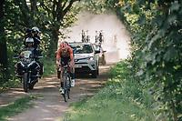 "Jan-Willem Van Schip (NED/Roompot-Nederlandse Loterij) hiding Guillaume Van Keirsbulck (BEL/Wanty-Groupe Gobert) in his wake<br /> <br /> Antwerp Port Epic 2018 (formerly ""Schaal Sels"")<br /> One Day Race:  Antwerp > Antwerp (207 km; of which 32km are cobbles & 30km is gravel/off-road!)"