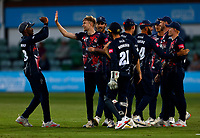 James Logan (2nd L) of Kent enjoys a high five with Daniel Bell-Drummond after taking the wicket of Sam Northeast  during Kent Spitfires vs Hampshire Hawks, Vitality Blast T20 Cricket at The Spitfire Ground on 9th June 2021
