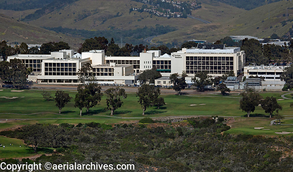 aerial photograph of the Scripps Institution of Oecanography, Torrey Pines Golf Course in the foreground, La Jolla, San Diego, County, California