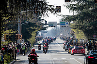 even with Covid restrictions in place, crowds gather to see the peloton rolling through<br /> <br /> 112th Milano-Sanremo 2021 (1.UWT)<br /> 1 day race from Milan to Sanremo (299km)<br /> <br /> ©kramon