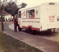 BNPS.co.uk (01202) 558833<br /> Pic: Jemma Lennie/BNPS<br /> <br /> Pictured: John with his first ever ice-cream van<br /> <br /> A much-loved ice cream seller was given a fitting send off by colleagues who followed his funeral cortege in a convoy of 10 ice cream vans. <br /> <br /> John Lennie spent over 40 years selling ice creams from his trusty van in his local community.<br /> <br /> So dedicated was he to his job that he was still doing his rounds just two days before he died at the age of 79.<br /> <br /> His daughter, Jemma Lennie, led the procession in her father's old colourful truck at his funeral in Wimborne, Dorset.