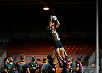 9th September 2020; Twickenham Stoop, London, England; Gallagher Premiership Rugby, London Irish versus Harlequins; Stephan Lewies of Harlequins catches the ball from a London Irish throw