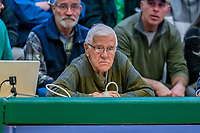 8 December 2018: University of Vermont Athletic Hall of Fame Broadcaster Tony Adams watches play from the sidelines during a game against the Harvard University Crimson at Patrick Gymnasium in Burlington, Vermont. The America East Catamounts overcame a 10-point 2nd half deficit, to defeat the Ivy League Crimson 71-65 in NCAA Division I inter-league play. Mandatory Credit: Ed Wolfstein Photo *** RAW (NEF) Image File Available ***