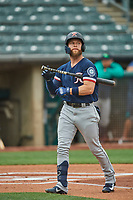 Eric Filia (2) of the Tacoma Rainiers at bat against the Salt Lake Bees at Smith's Ballpark on May 16, 2021 in Salt Lake City, Utah. The Bees defeated the Rainiers 8-7. (Stephen Smith/Four Seam Images)