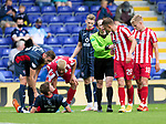 Ross County v St Johnstone…31.07.21  Global Energy Stadium<br />Referee Colin Steven pushes Callum Hendry away from Blair Spittal after he was fouled<br />Picture by Graeme Hart.<br />Copyright Perthshire Picture Agency<br />Tel: 01738 623350  Mobile: 07990 594431