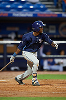 Charlotte Stone Crabs shortstop Lucius Fox (2) follows through on a swing during the first game of a doubleheader against the St. Lucie Mets on April 24, 2018 at First Data Field in Port St. Lucie, Florida.  St. Lucie defeated Charlotte 5-3.  (Mike Janes/Four Seam Images)
