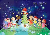 Interlitho, Simonetta, CHRISTMAS CHILDREN, naive, paintings, kids, globe, tree, KL5874,#XK# Weihnachten, Navidad, illustrations, pinturas