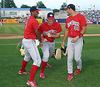 June 28, 2003:  Terry Jones, Matt Hopper, and Andre Marshall of the Lakewood Blueclaws, Class-A affiliate of the Philadelphia Phillies, during a South Atlantic League game at Classic Park in Eastlake, OH.  Photo by:  Mike Janes/Four Seam Images
