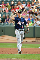 Mike Jacobs (6) of the Reno Aces during the game against the Salt Lake Bees in Pacific Coast League action at Smith's Ballpark on July 24, 2014 in Salt Lake City, Utah.  (Stephen Smith/Four Seam Images)