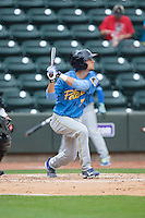 Daniel Lockhart (7) of the Myrtle Beach Pelicans follows through on his swing against the Winston-Salem Dash at BB&T Ballpark on May 10, 2015 in Winston-Salem, North Carolina.  The Pelicans defeated the Dash 4-3.  (Brian Westerholt/Four Seam Images)