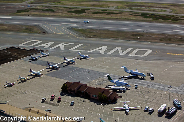 aerial photograph of the general aviation ramp at Oakland International Airport north field, Oakland, California