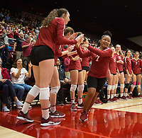 STANFORD, CA - NOVEMBER 17: Stanford, CA - November 17, 2019: Caitie Baird at Maples Pavilion. #4 Stanford Cardinal defeated UCLA in straight sets in a match honoring neurodiversity. during a game between UCLA and Stanford Volleyball W at Maples Pavilion on November 17, 2019 in Stanford, California.