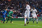 Real Madrid Gareth Bale and Borja Mayoral and Fuenlabrada Jordi Codina during return match of King's Cup between Real Madrid and Fuenlabrada at Santiago Burnabeu Stadium in Madrid, Spain. November 28, 2017. (ALTERPHOTOS/Borja B.Hojas)