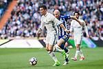 Cristiano Ronaldo of Real Madrid and Gaizka Toquero of Club Deportivo Alaves  during the match of  La Liga between Real Madrid and Deportivo Alaves at Bernabeu Stadium Stadium  in Madrid, Spain. April 02, 2017. (ALTERPHOTOS / Rodrigo Jimenez)