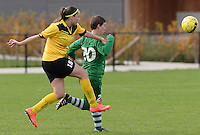 20151024 - ZWEVEZELE , BELGIUM : An-Sofie Vergauwe (left) pictured in a duel with Cathy De Bel (r) during a soccer match between the women teams of SKV Zwevezele Ladies and KSOC Maria Ter Heide  , during the eight matchday in the Third League - Derde Nationale season, Saturday 24 October 2015 . PHOTO DAVID CATRY