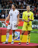 Abby Wambach, Hope Solo.  Japan won the FIFA Women's World Cup on penalty kicks after tying the United States, 2-2, in extra time at FIFA Women's World Cup Stadium in Frankfurt Germany.