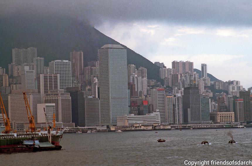 Hong Kong: Downtown skyline, Victoria Peak--shrouded at left. Photo '82.