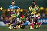 GFI East Africans (in yellow) play against XBlades Rowzy Pegasi (in blue and yellow) during GFI HKFC Rugby Tens 2016 on 06 April 2016 at Hong Kong Football Club in Hong Kong, China. Photo by Juan Manuel Serrano / Power Sport Images