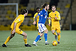 Livingston v St Johnstone…..22.01.20   Toni Macaroni Arena   SPFL<br />Stevie May gets between Ciaron Brown and Scott Pittman<br />Picture by Graeme Hart.<br />Copyright Perthshire Picture Agency<br />Tel: 01738 623350  Mobile: 07990 594431