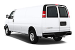 Car pictures of rear three quarter view of a 2018 Chevrolet Express 3500 3500 Extended Work Van 4 Door Cargo Van angular rear